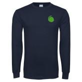 Navy Long Sleeve T Shirt-Green Dot