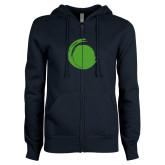 ENZA Ladies Navy Fleece Full Zip Hoodie-Green Dot