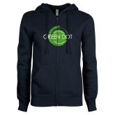 ENZA Ladies Navy Fleece Full Zip Hoodie-Text Across Design