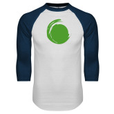 White/Navy Raglan Baseball T Shirt-Green Dot