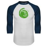 White/Navy Raglan Baseball T Shirt-Tagline Inside