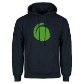 Navy Fleece Hoodie-Green Dot