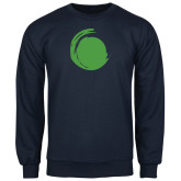 Navy Fleece Crew-Green Dot