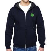 Navy Fleece Full Zip Hoodie-Green Dot