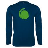 Performance Navy Longsleeve Shirt-Green Dot