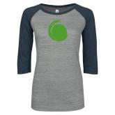 ENZA Ladies Athletic Heather/Navy Vintage Baseball Tee-Green Dot