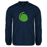 V Neck Navy Raglan Windshirt-Green Dot