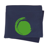 Navy Sweatshirt Blanket-Green Dot