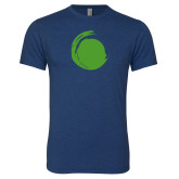 Next Level Vintage Navy Tri Blend Crew-Green Dot