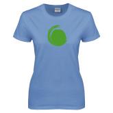 Ladies Arctic Blue T Shirt-Green Dot