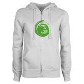 ENZA Ladies White Fleece Full Zip Hoodie-Tagline Inside