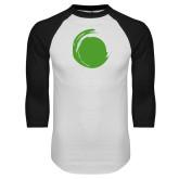 White/Black Raglan Baseball T Shirt-Green Dot