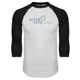 White/Black Raglan Baseball T Shirt-Alteristic w Tagline