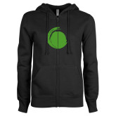 ENZA Ladies Black Fleece Full Zip Hoodie-Green Dot