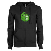 ENZA Ladies Black Fleece Full Zip Hoodie-Tagline Inside