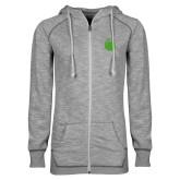 ENZA Ladies Grey/Black Marled Full Zip Hoodie-Green Dot