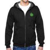 Black Fleece Full Zip Hoodie-Green Dot