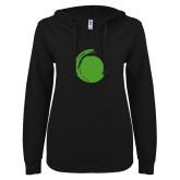 ENZA Ladies Black V Notch Raw Edge Fleece Hoodie-Green Dot