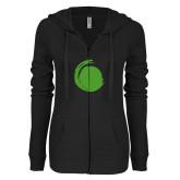 ENZA Ladies Black Light Weight Fleece Full Zip Hoodie-Green Dot