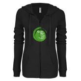 ENZA Ladies Black Light Weight Fleece Full Zip Hoodie-Tagline Inside