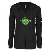 ENZA Ladies Black Light Weight Fleece Full Zip Hoodie-Text Across Design