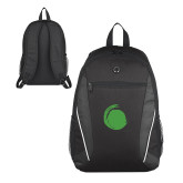 Atlas Black Computer Backpack-Green Dot