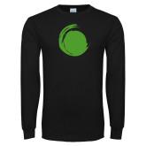 Black Long Sleeve T Shirt-Green Dot