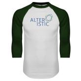 White/Dark Green Raglan Baseball T Shirt-Alteristic