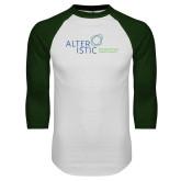 White/Dark Green Raglan Baseball T Shirt-Alteristic w Tagline