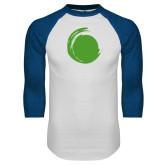 White/Royal Raglan Baseball T Shirt-Green Dot