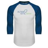 White/Royal Raglan Baseball T Shirt-Alteristic w Tagline