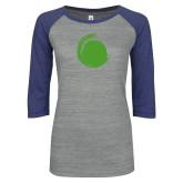 ENZA Ladies Athletic Heather/Blue Vintage Baseball Tee-Green Dot
