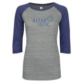ENZA Ladies Athletic Heather/Blue Vintage Baseball Tee-Alteristic