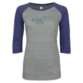 ENZA Ladies Athletic Heather/Blue Vintage Baseball Tee-Alteristic w Tagline