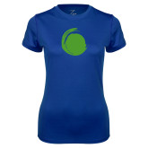 Ladies Syntrel Performance Royal Tee-Green Dot