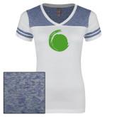 Ladies White/Heathered Royal Juniors Varsity V Neck Tee-Green Dot