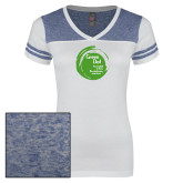 Ladies White/Heathered Royal Juniors Varsity V Neck Tee-Tagline Inside