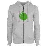 ENZA Ladies Grey Fleece Full Zip Hoodie-Green Dot