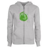 ENZA Ladies Grey Fleece Full Zip Hoodie-Tagline Inside