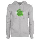 ENZA Ladies Grey Fleece Full Zip Hoodie-Text Across Design