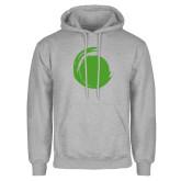 Grey Fleece Hoodie-Green Dot