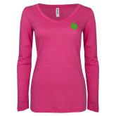 ENZA Ladies Hot Pink Long Sleeve V Neck Tee-Green Dot