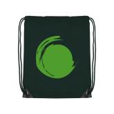 Dark Green Drawstring Backpack-Green Dot