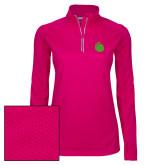 Ladies Pink Raspberry Sport Wick Textured 1/4 Zip Pullover-Green Dot