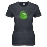 Ladies Dark Heather T Shirt-Tagline Inside
