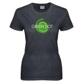 Ladies Dark Heather T Shirt-Text Across Design