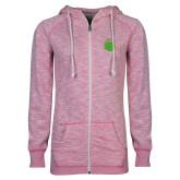 ENZA Ladies Hot Pink Marled Full Zip Hoodie-Green Dot