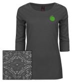 Ladies Charcoal Heather Lace 3/4 Sleeve Tee-Green Dot