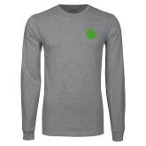 Grey Long Sleeve T Shirt-Green Dot
