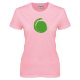 Ladies Pink T Shirt-Green Dot